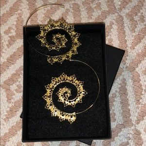 Boho gold tone spiral earrings